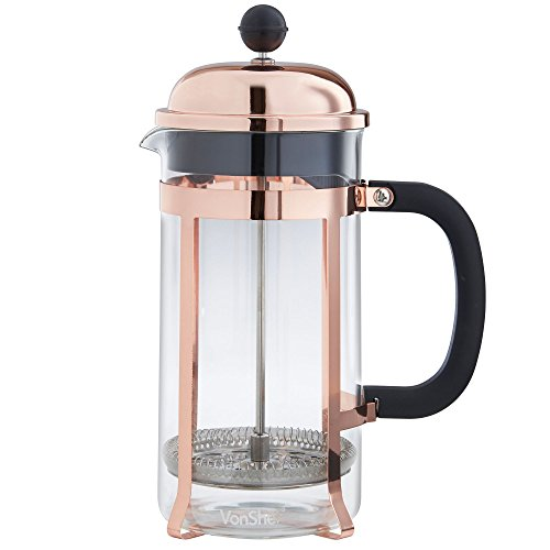 VonShef 8 Cup French Press Cafetiere Glass Coffee Maker 1 Litre, Copper Finish, Free 2 Year ...