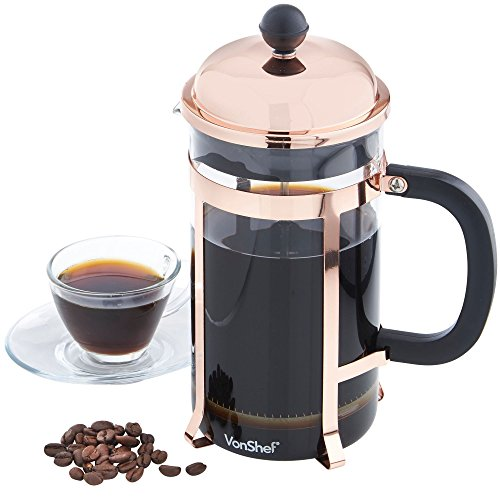 vonshef 8 cup french press cafetiere glass coffee maker 1 litre copper finish free 2 year. Black Bedroom Furniture Sets. Home Design Ideas