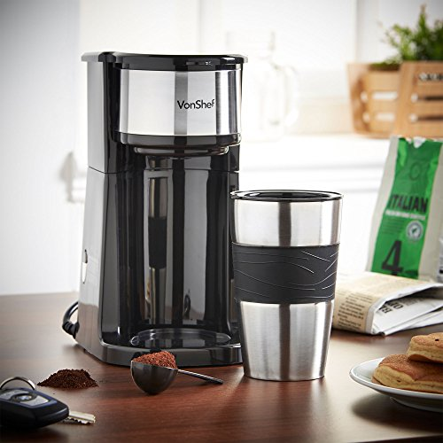 VonShef One Cup Personal Filter Coffee Machine with 420ml Travel Mug Lid Free 2 Year Warranty 0 0 Coffee Maker One Cup No Pods